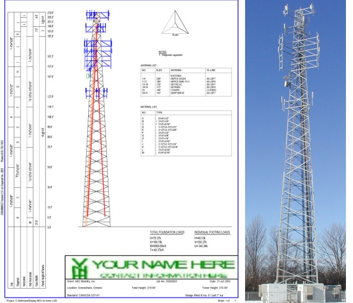 Drawn tower profile and real tower - side by side